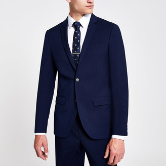 River Island Navy skinny suit jacket