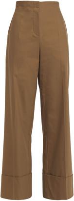 Brunello Cucinelli Bead-embellished Stretch-cotton Wide-leg Pants