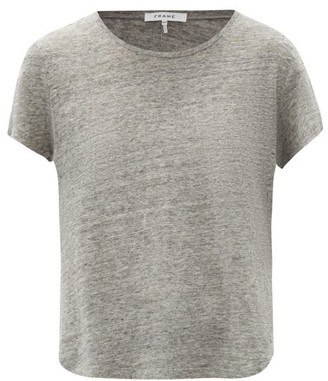 Frame Slubbed Linen-jersey Crew-neck T-shirt - Womens - Grey