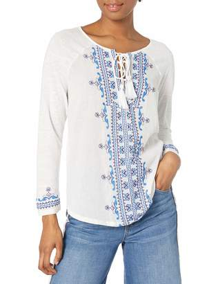 Lucky Brand Women's Embroidered Lace Up Top