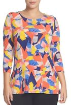 Chaus Printed Three-Quarter Sleeve Top