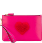 Anya Hindmarch heart clutch bag - women - Suede/Bos Taurus - One Size
