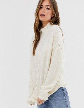 Asos Design DESIGN fluffy high neck jumper-Cream