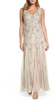 Adrianna Papell Women's Beaded Double V-Neck Gown