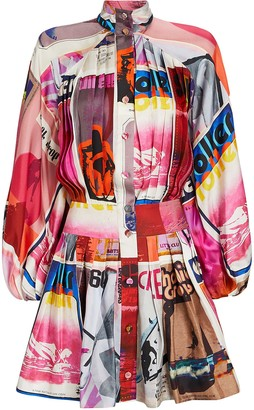 Zimmermann Wavelength Pleated Silk Dress