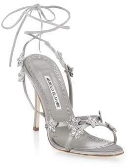 Manolo Blahnik Women's Osaka Tie Stilettos - Silver - Size 42 (12)