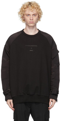 Juun.J Black Nylon Sleeves Sweatshirt