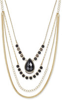 INC International Concepts Gold-Tone Black Crystal Layered Necklace, Only at Macy's