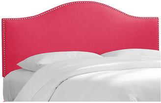 One Kings Lane Tallman Headboard - Fuchsia Linen - upholstery, fuchsia; nailheads, silver