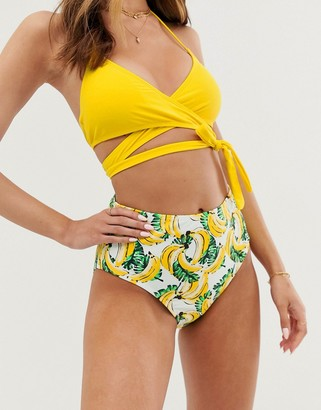 Vero Moda banana print high waisted bikini bottoms-Multi