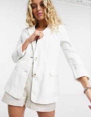 Bershka oversized linen blazer in white