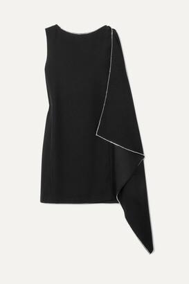 McQ Crystal-embellished Draped Crepe Mini Dress - Black