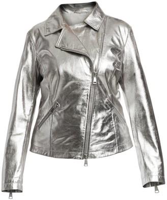 Marina Rinaldi, Plus Size Marina Sport Ebe Laminated Leather Biker Jacket
