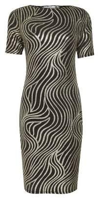 Dorothy Perkins Womens Petite Black Shimmer Bodycon Dress, Black