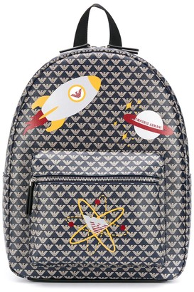 Emporio Armani Kids Spacecraft-Print Faux-Leather Backpack