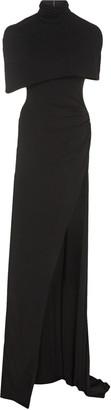 Brandon Maxwell Capelet Front-Slit Jersey Maxi Dress