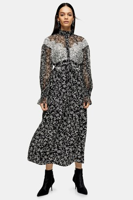 Topshop IDOL Black and White Floral Lace Shirt Dress