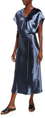 Vince Metallic Flutter-Sleeve Midi Dress