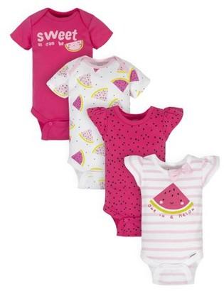 Gerber Baby Girl Short Sleeve Onesies Bodysuits, 4pk