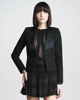 Cropped Tuxedo Jacket, Black