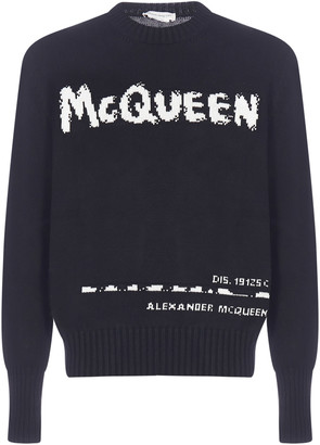 Alexander McQueen Logo-intarsia Cotton Sweater