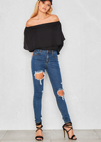 Missy Empire Vivian Blue Ripped Skinny Jeans