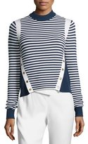Veronica Beard Striped Ottoman Mock-Neck Sweater, Navy/White
