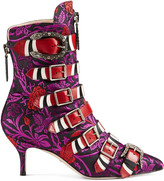 Gucci Floral jacquard buckle ankle boot