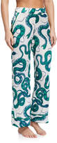 Hesper Fox Dietrich Snakes-Print Silk Pajama Pants