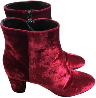 Saint Laurent Loulou Red Suede Ankle boots