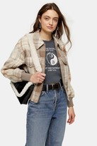 Topshop CONSIDERED Tan Check Bomber Jacket With Recycled Wool