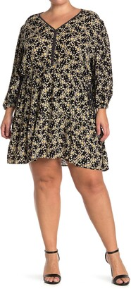 Angie 3/4 Length Sleeve Daisy Print Dress