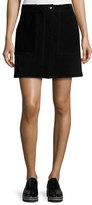 Rag & Bone Denny Suede Mini Skirt, Black