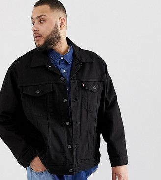 Levi's Big & Tall denim trucker jacket in black rinse