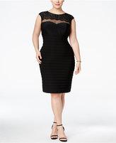 Xscape Evenings Plus Size Lace-Trim Banded Bodycon Dress