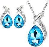 Perman Women Crystal Plated Chain Pendant Necklace Stud Earring Set