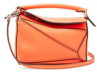 Loewe Puzzle Mini Grained-leather Cross-body Bag - Womens - Orange