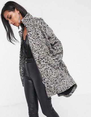 Religion oversized car coat in leopard-Grey
