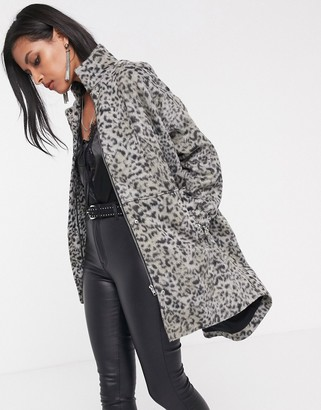 Religion oversized car coat in leopard