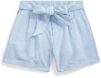 Ralph Lauren Belted Cotton Seersucker Short
