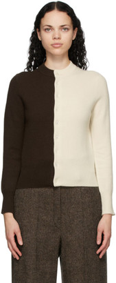Extreme Cashmere Brown and Off-White Cashmere N140 Little Game Cardigan