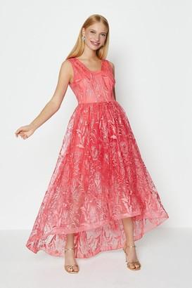 Coast V Neck Embroidered High Low Dress