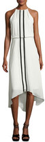Parker Macedonia Sleeveless Contrast-Trim Midi Dress, Ivory