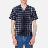 Folk Men's Cuban Collar Shirt Navy Check