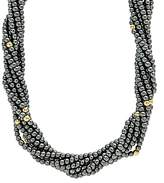 Lagos 18K Yellow Gold and Sterling Silver Caviar Icon Hematite Multi Strand Necklace, 18