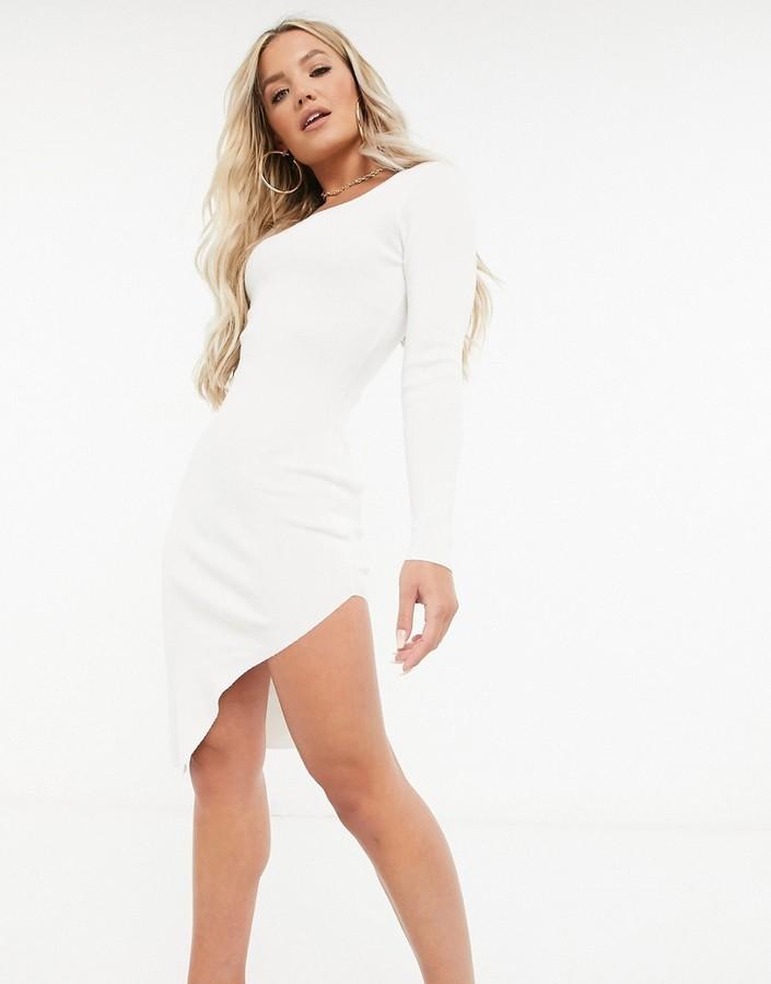 Missguided square neck slit front midi dress in cream