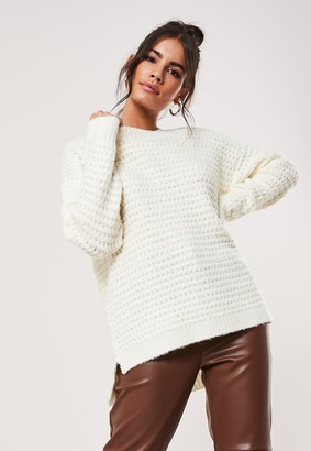 Missguided White Rib Oversized Knitted Jumper
