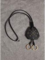 Burberry Riveted Leather Lanyard Key Charm