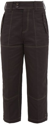 Marni High-waisted Cotton-blend Cargo Trousers - Womens - Black
