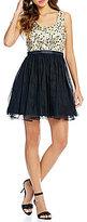 Jodi Kristopher Sequin Beaded Bodice Swing Party Dress